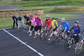 Lining up for the run and cycle race in series 2 on the Knockhill racing track